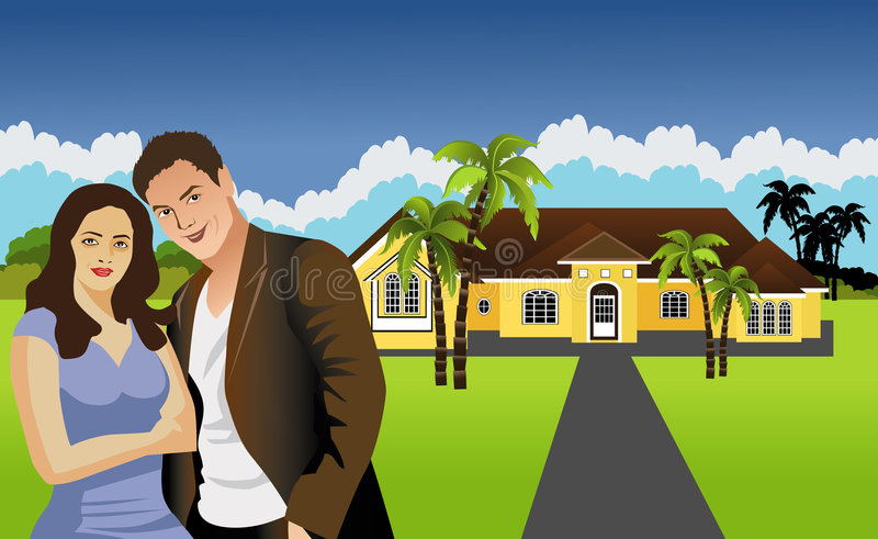 Couples In Front Of Single Family Home. Proud couple infront of single family home vector illustration