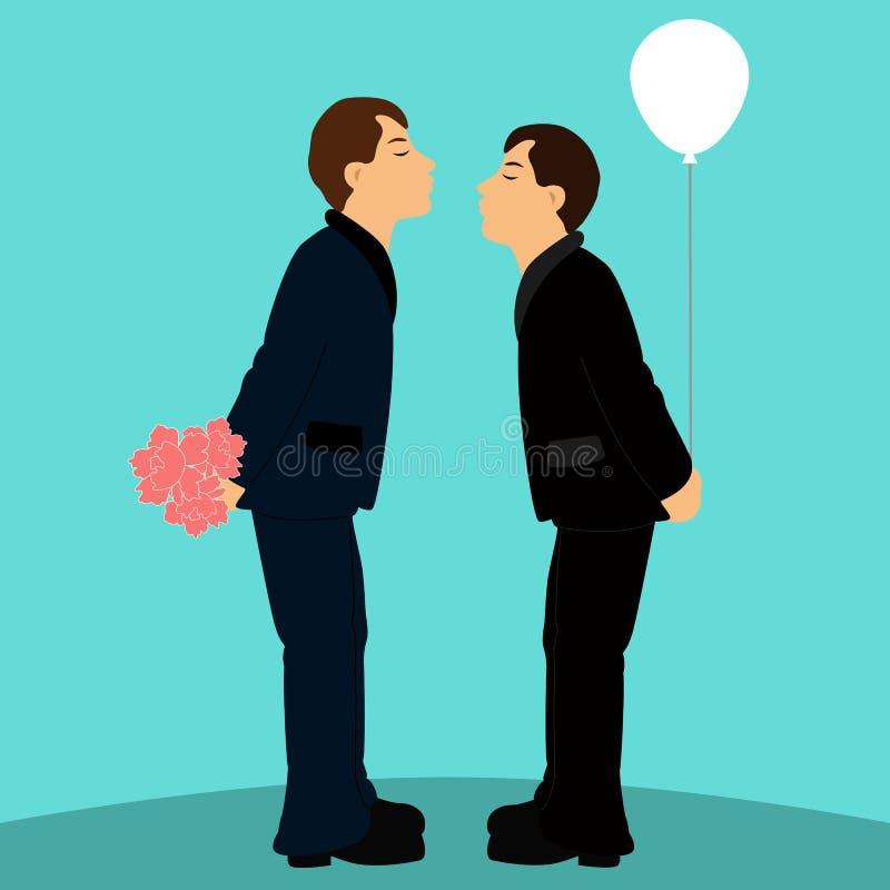 Couples gais de bande dessinée dans des costumes de mariage illustration libre de droits