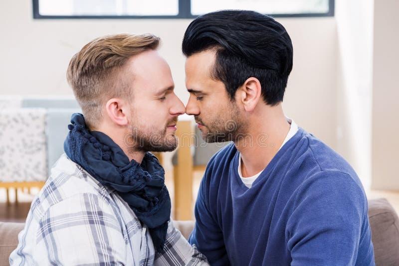 Couples gais environ à embrasser sur le divan images libres de droits