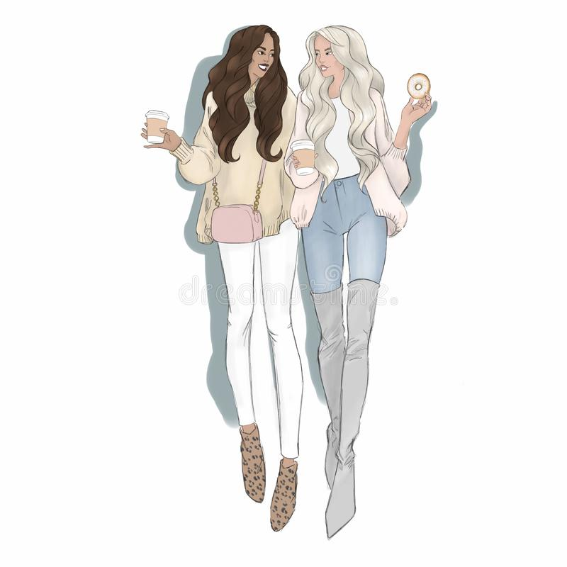 Couples gais femelles Type de dessin animé Conjoints lesbiens Famille multiraciale non traditionnelle homosexuels LGBT illustration de vecteur