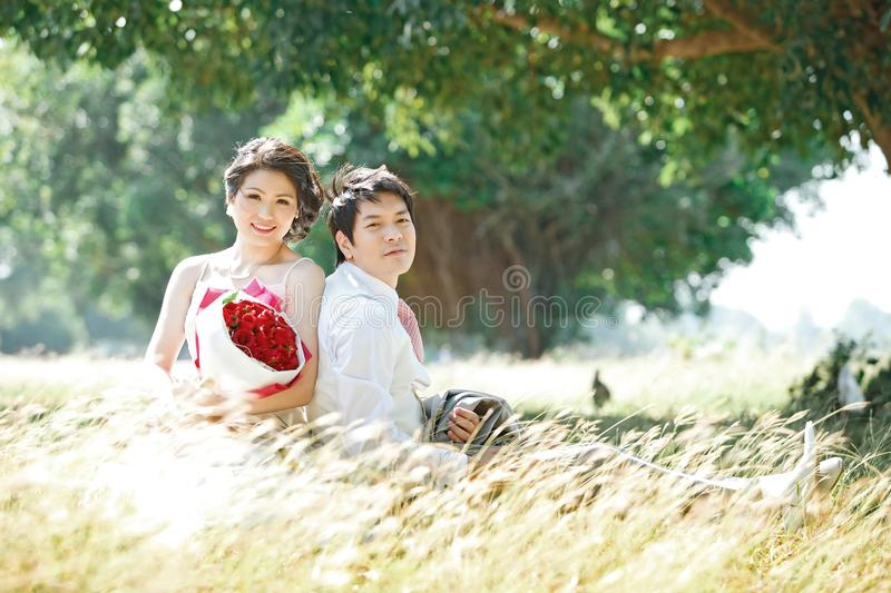Couples on grass royalty free stock photo