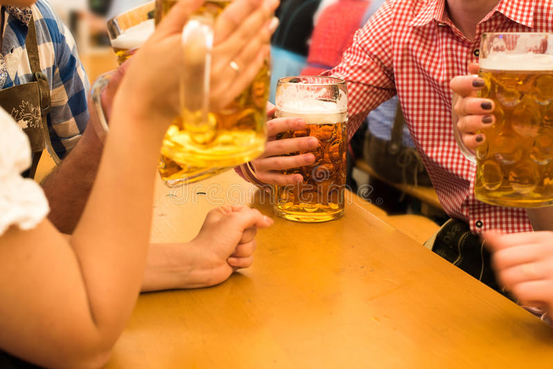 Couples having fun at the Oktoberfest stock image