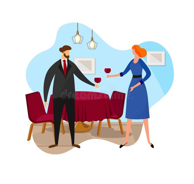 Couples heureux ayant la date romantique dans le restaurant illustration libre de droits