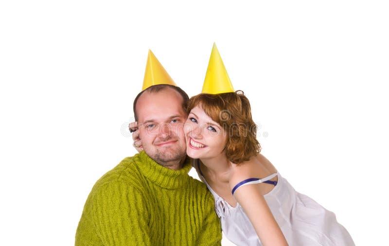 Couples heureux célébrant des vacances image stock