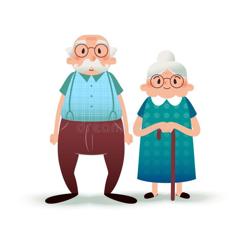Couples heureux d'aîné de bande dessinée Caractères plats de Fanny Vieil homme et vieille dame Illustration plate sur le fond bla illustration stock