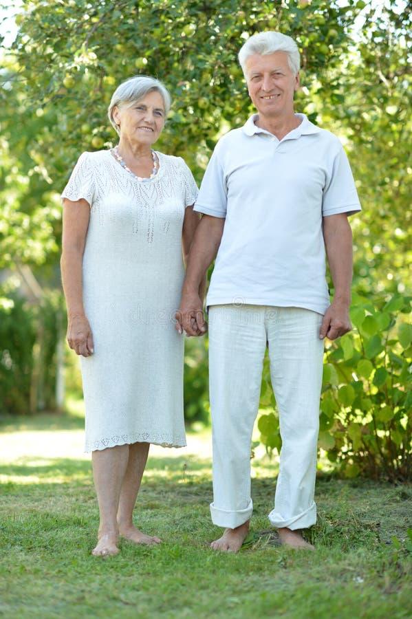 Couples heureux d'aîné vers la fin de ressort dehors photographie stock