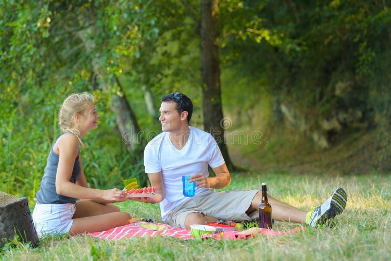 Couples heureux dans l'amour au pique-nique photos libres de droits