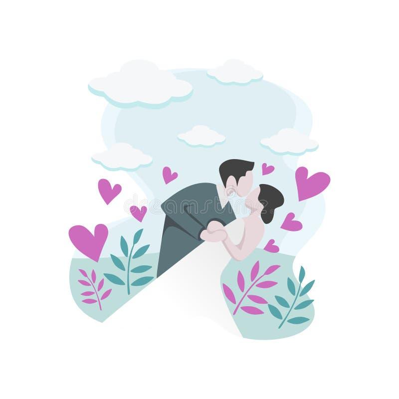 Couples heureux dans l'amour avec la robe de mariage de port de dessin mignon de bande dessinée Illustration de baiser de vecteur illustration libre de droits
