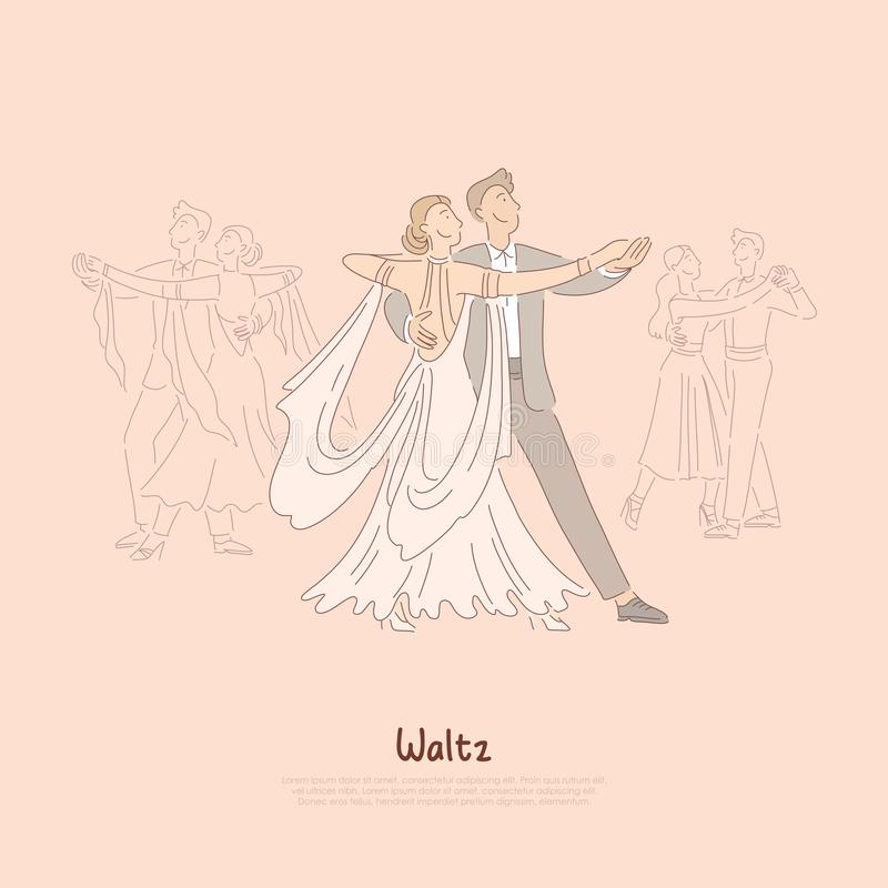 Couples heureux dans la salle de bal, jeune homme dans le costume et femme dans la belle valse de danse de robe, bannière d'école illustration de vecteur