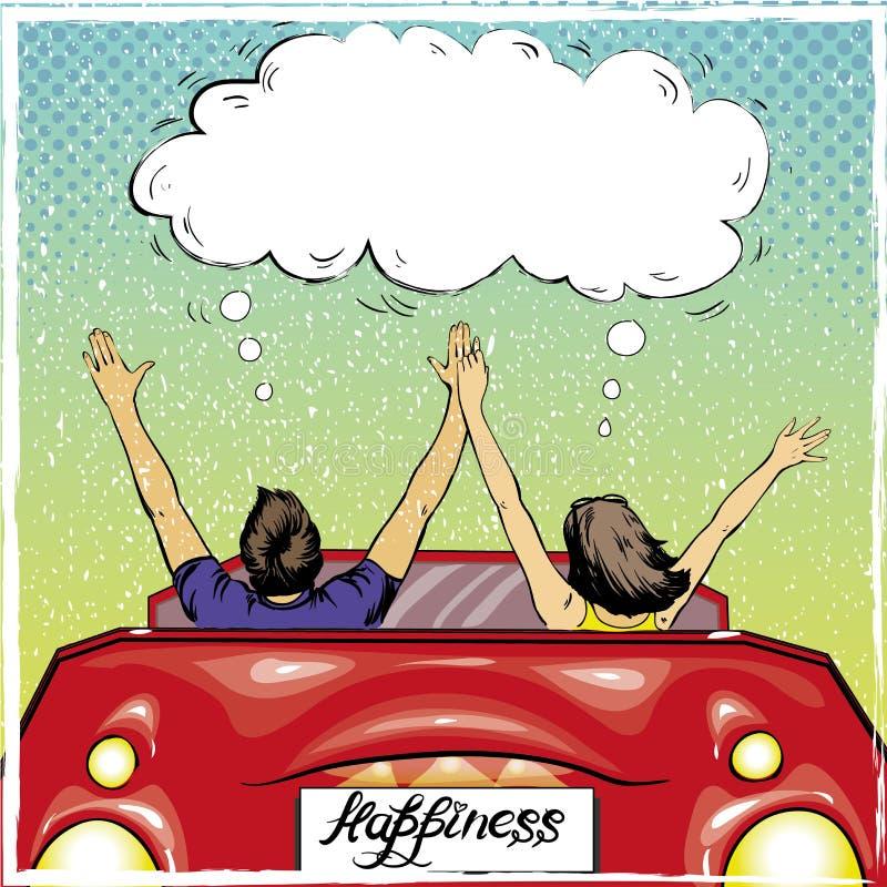 Couples heureux dans une conduite loin Illustration de vecteur dans le rétro style d'art de bruit Concept de romance d'amour illustration de vecteur
