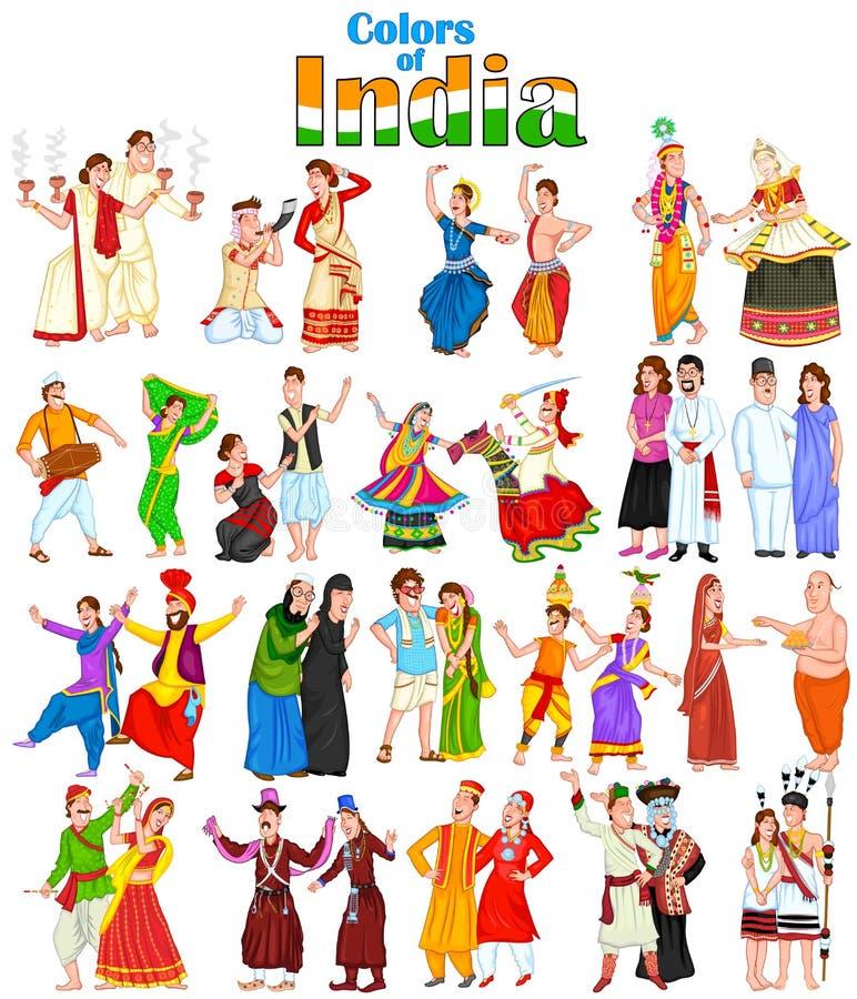 Couples heureux de différents états d'Inde illustration stock