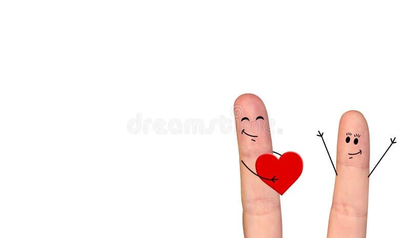 Couples heureux de doigt dans l'amour célébrant le jour de Valentine's illustration stock