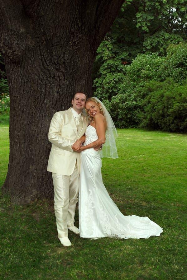 Couples heureux de mariage en stationnement photos libres de droits