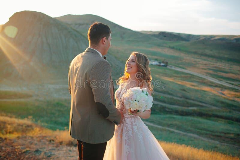 Couples heureux de nouveaux mari?s Beaux jeunes mariés dans un costume image libre de droits