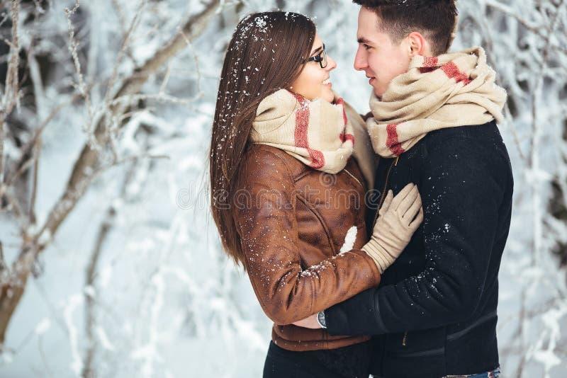 Couples heureux en parc de neige images libres de droits