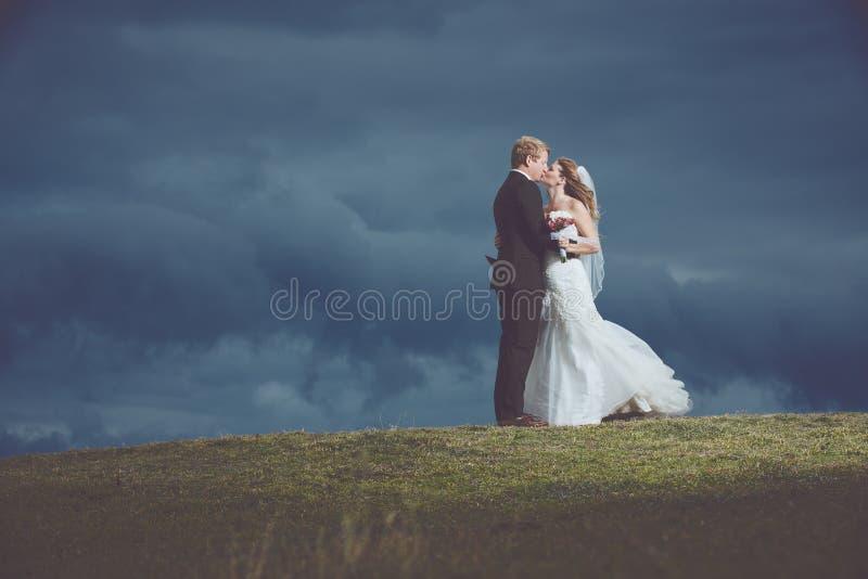 Couples heureux juste mariés images stock
