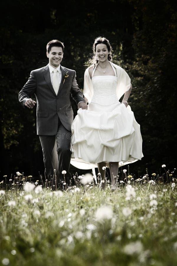 Couples heureux le jour du mariage photo stock