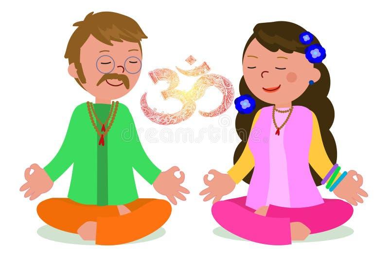 Couples hippies dans le vecteur de pose de zen illustration stock