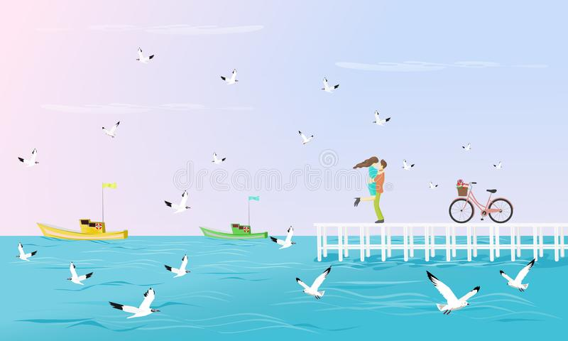 Couples  hugged on a white bridge that extends into the sea. Have a bike beside With seagulls as background stock illustration