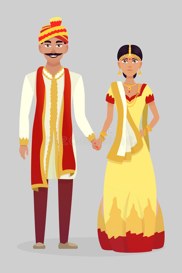 Couples indiens de mariage de bande dessinée illustration stock