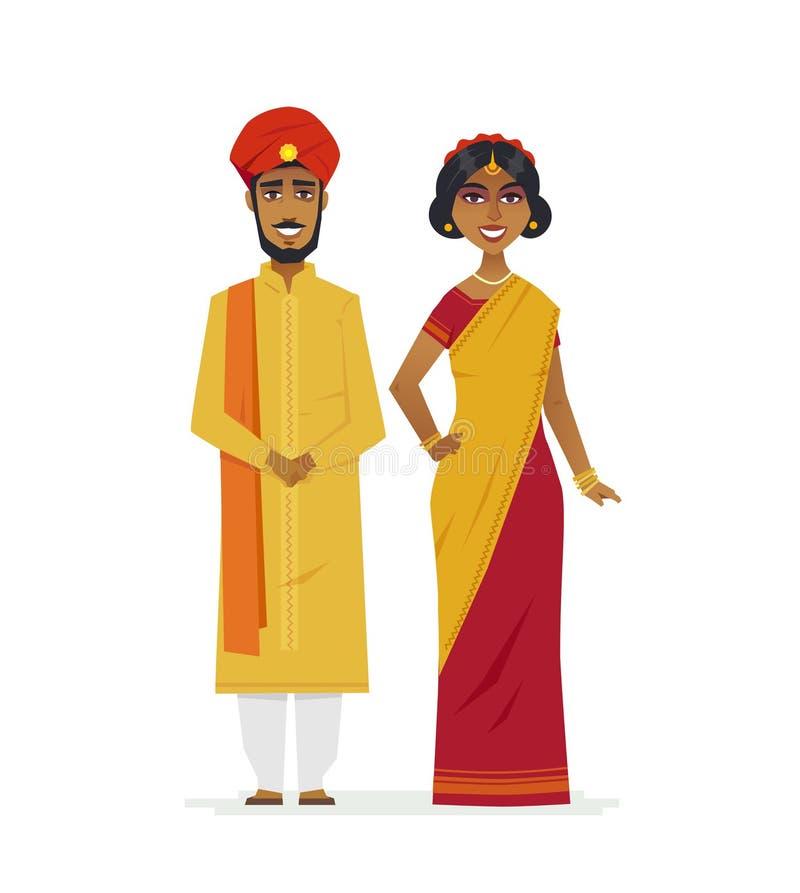 Couples indiens heureux - les caractères de personnes de bande dessinée ont isolé l'illustration illustration libre de droits
