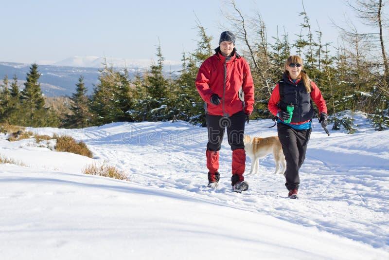 Couples l'hiver augmentant en montagnes photographie stock