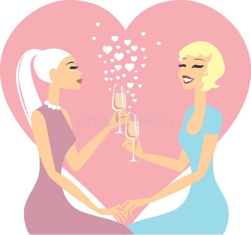 Couples lesbiens dans l'amour illustration stock