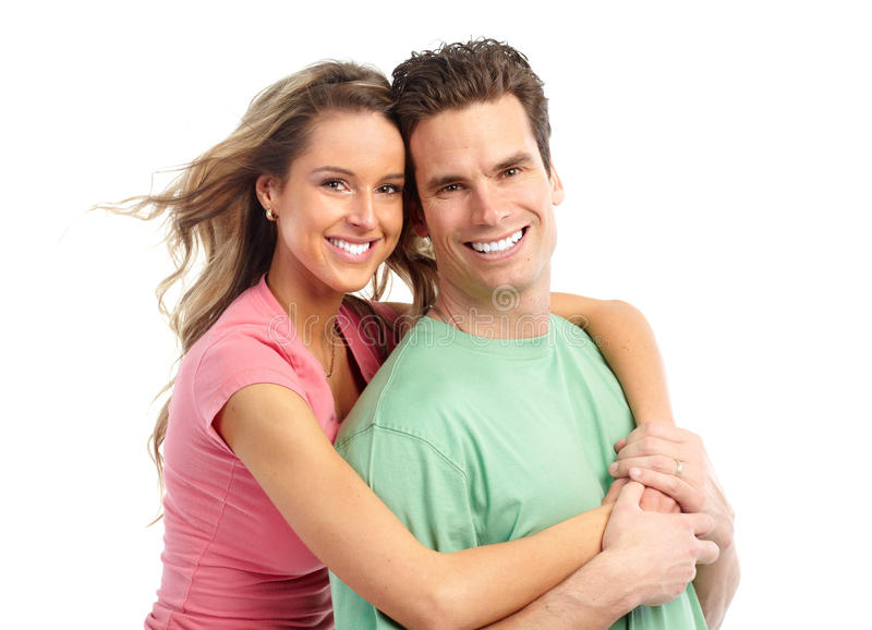 Couples in love. Happy smiling couple in love. Over white background