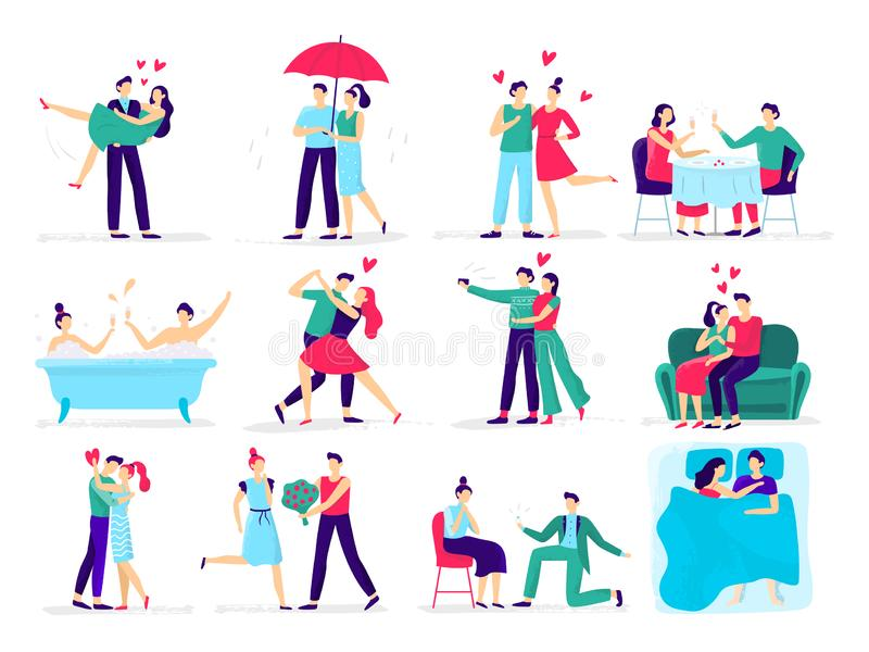 Couples in love. Love couple on date, lover makes proposal to sweetheart in restaurant. Hugs and kisses vector stock illustration