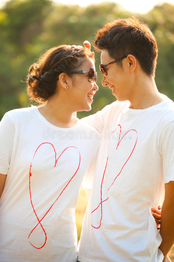 Couples in love outdoor stock photography