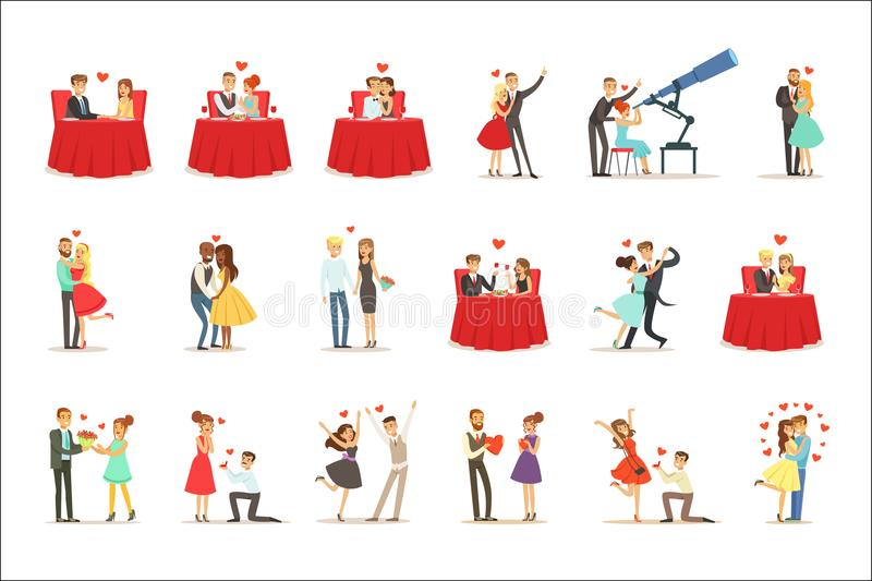 Couples In Love Romantic St. Valentine s Day Date, Lovers And Romance Set Of Vector Illustrations. Cute Cartoon Characters Loving Each Other Going Out To royalty free illustration