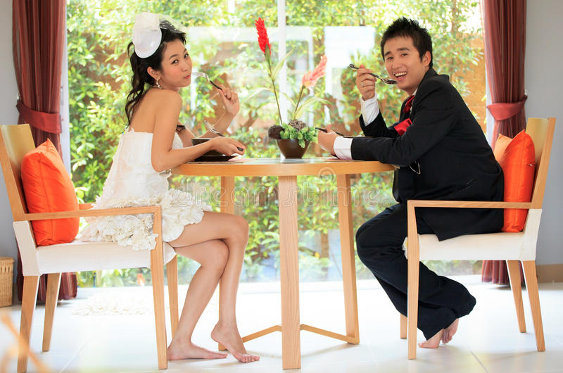 Download Couples on lunch time stock image. Image of married, home - 25518097