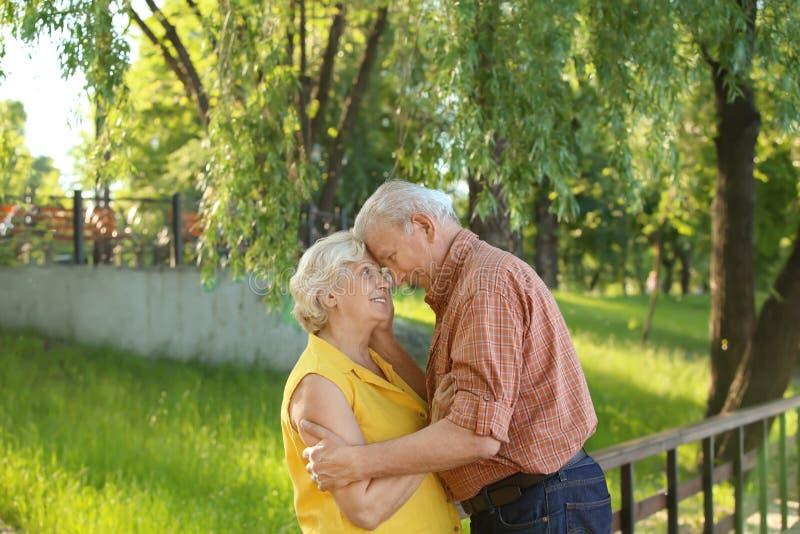 Couples mûrs heureux marchant en parc de ville images libres de droits