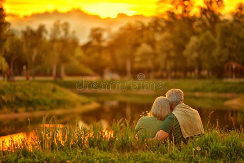 Couples mûrs en parc d'été photos libres de droits