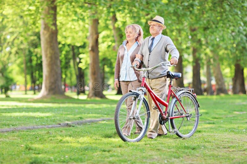 Couples mûrs heureux marchant en parc photos libres de droits