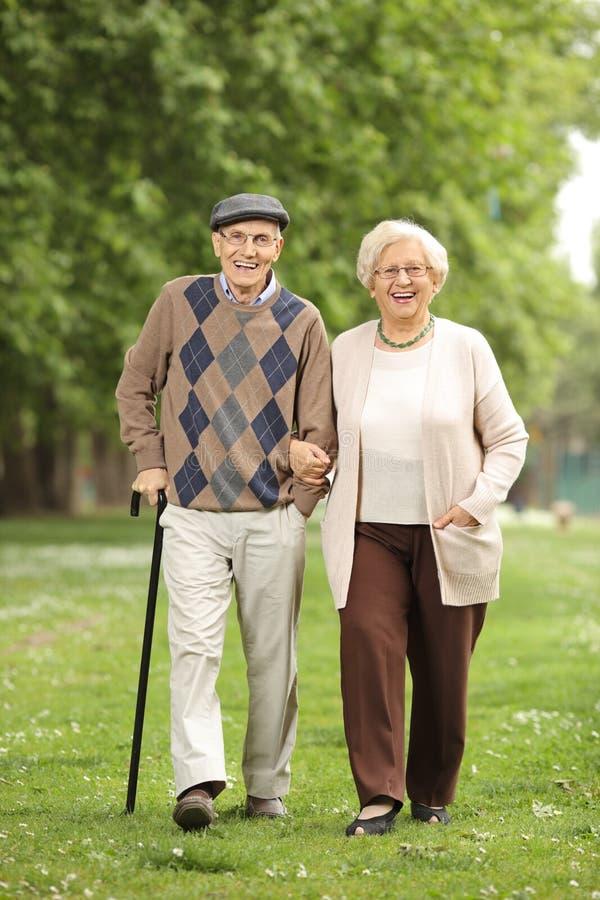 Couples mûrs heureux marchant en parc photographie stock