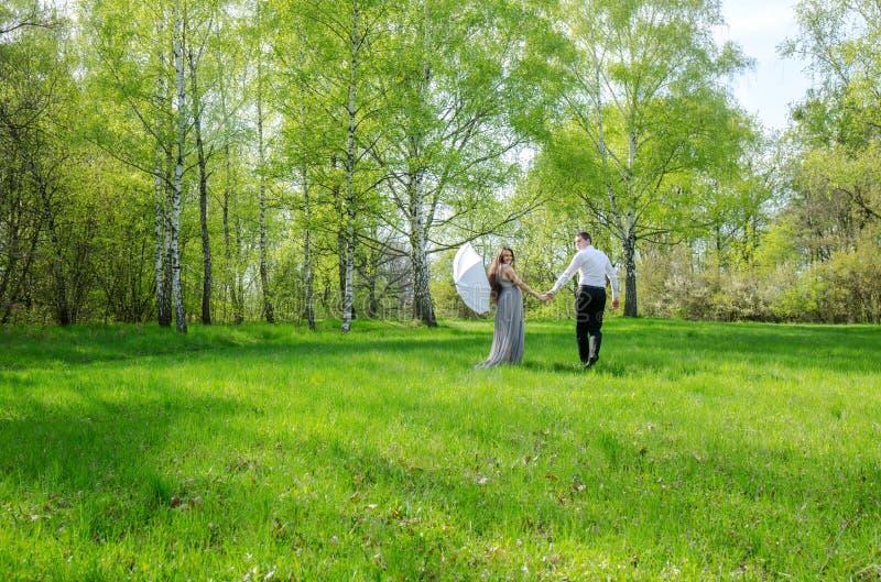 Couples marchant dans un pré photographie stock