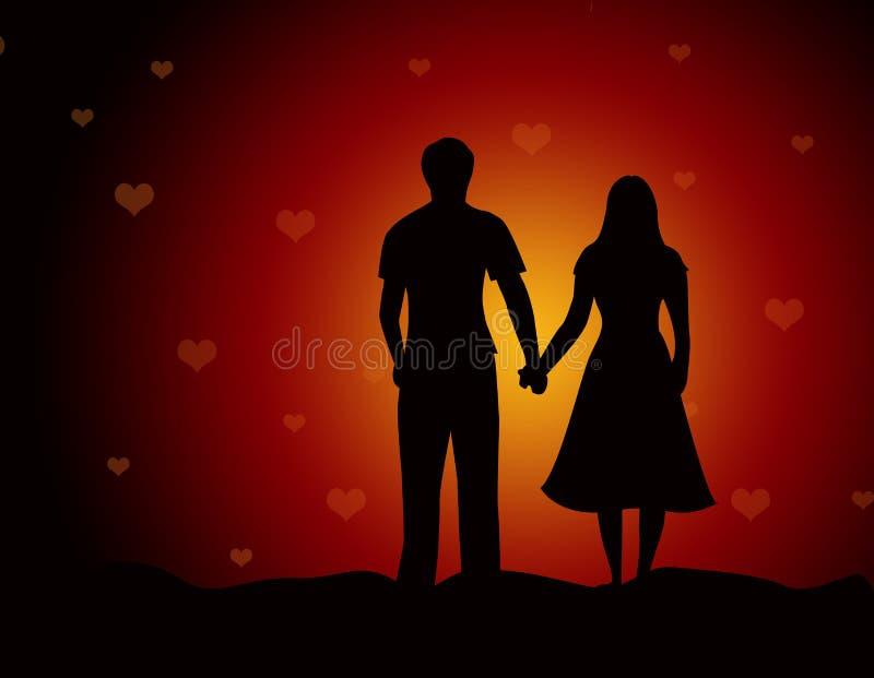 Couples marchant ensemble à la plage/aux amoureux illustration libre de droits