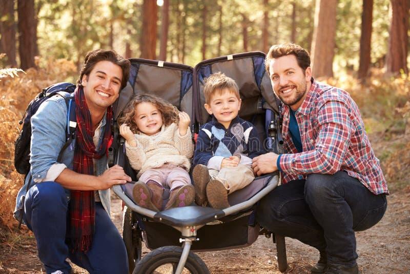 Couples masculins gais poussant des enfants dans le boguet par des bois image stock