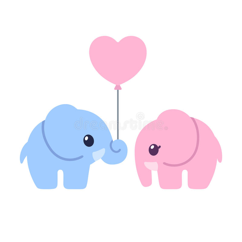 Couples mignons d'éléphant de bande dessinée illustration libre de droits