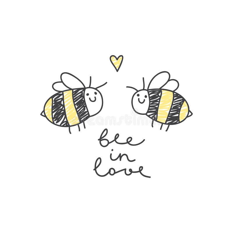 Couples mignons d'abeilles illustration de vecteur