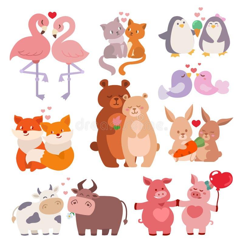 Couples mignons d'animaux dans le vecteur affectueux heureux de faune de nature de personnages de dessin animé de jour de valenti illustration de vecteur