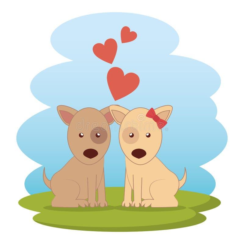 Couples mignons de chiens sur l'herbe illustration de vecteur