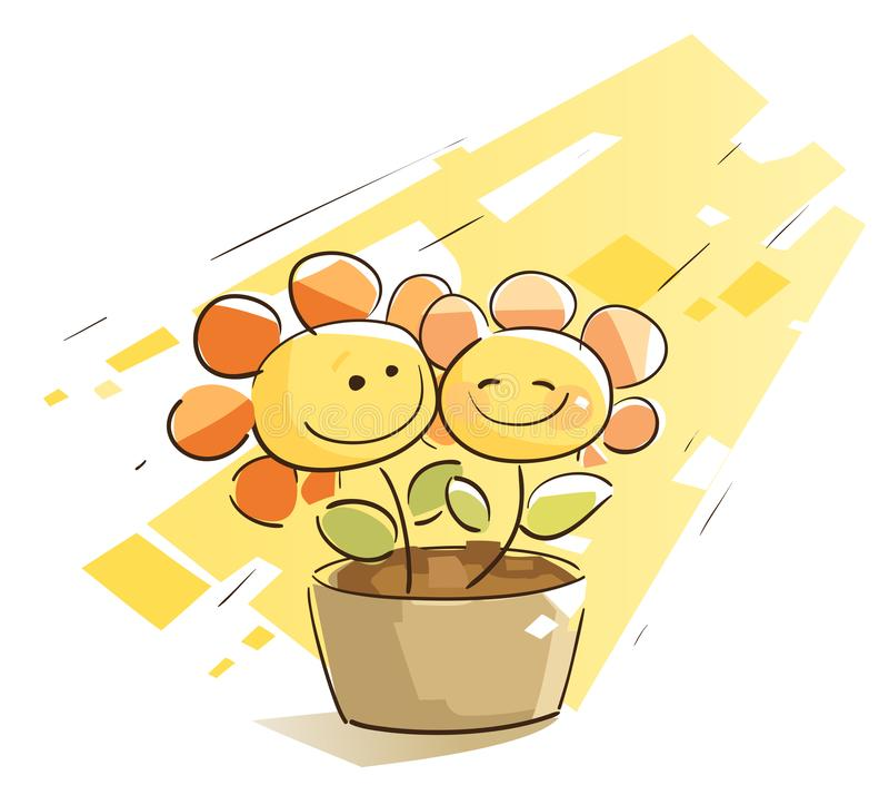 Couples mignons de fleur illustration de vecteur