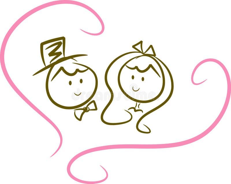 Couples mignons de mariage (vi) illustration libre de droits