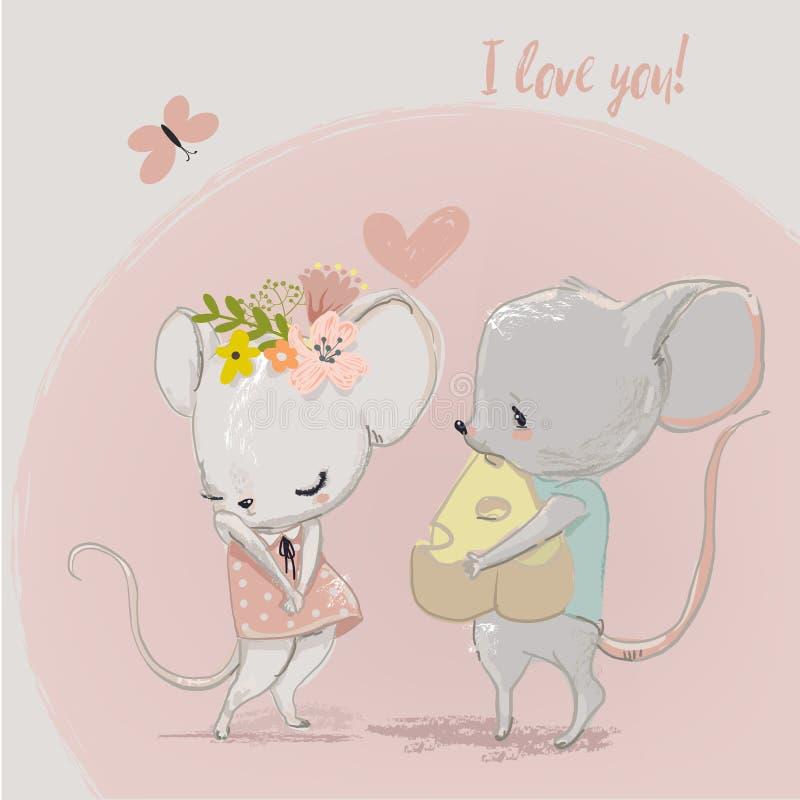 Couples mignons de souris illustration de vecteur