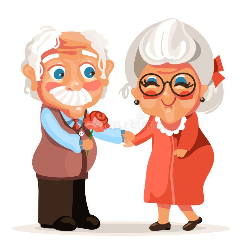 Couples mignons et adorables d'aînés de bande dessinée dans l'amour romantique illustration stock