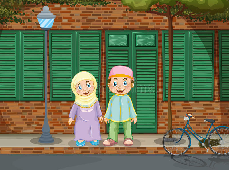 Couples musulmans se tenant sur le trottoir illustration stock