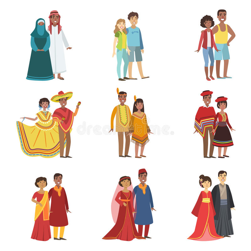 Couples In National Clothes Set. Of Simple Design Illustrations In Cute Fun Cartoon Style Isolated On White Background royalty free illustration