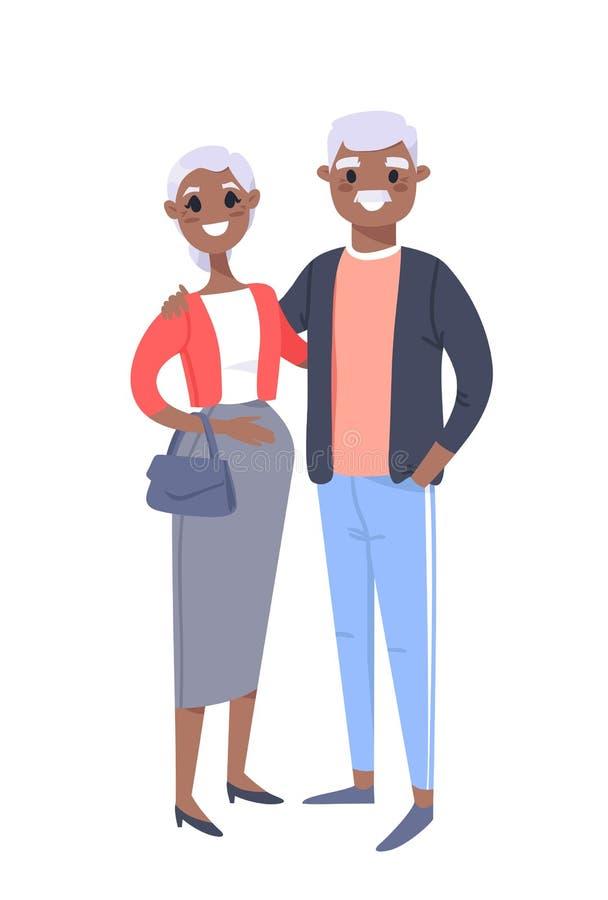Couples noirs pluss âgé Femme et homme tirés par la main Famille plate d'illustration de vecteur de style Personnages de dessin a illustration libre de droits